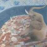 """Elephant"" Olio su juta, cm 100x108, 2016 - 3.600 €"