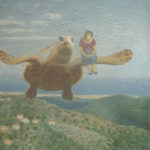 """Flying Turtle"" Olio su juta, cm 100x120, 2013 3.600 €"