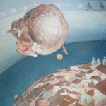 """""""Full Moon"""" Olio su tovaglia, cm 100x100, 2016 - 3.600 €"""