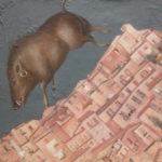 """The Wild Boar"" Olio su juta, cm 100x100, 2014 - 3.600 €"