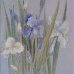 """""""Iris bianchi e blu"""", olio su faesite, cm 40x29,5, 2008 700 €"""