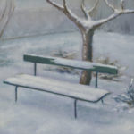 """La panchina verde"", olio su tela, cm 30x40, 1997 700 €"