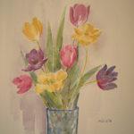 """""""Tulipani nel vaso blu"""", acquerello su carta, cm 53x38, 2016 400 €"""