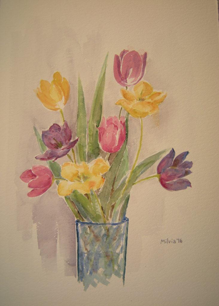 06 - tulipani nel vaso blu - cm. 53x38 - 2016