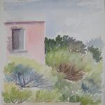 """""""Muro rosa in pineta"""", acquerello su carta, cm 46x30, 1986 350 €"""