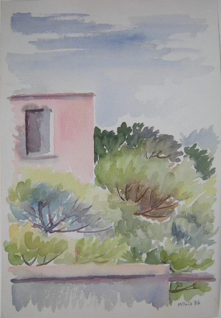 08 - Muro rosa in pineta - cm. 46x30 - 1986