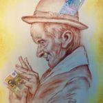 """""""Mister bancomat. Allegoria della ricchezza,  sanguigna e acrilico su tela gallery, cm 40x50, 2016 800 €"""