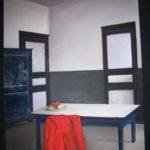 """""""Giacca rossa"""", tecnica mista, acrilico su tavola, cm 50x43, 2016 450 €"""