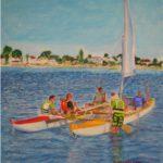 """""""Escursione in Catamarano"""", acrilico su tela, cm 50x60, 2017"""