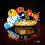 """""""Cesto di verdura"""", olio su tela, cm 50x50, 2007"""