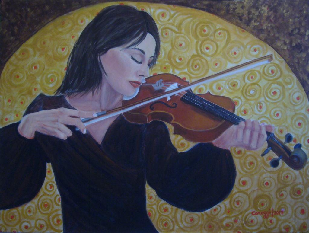 2. La Violinista, acrilico su tela 80x60h cm, 2017