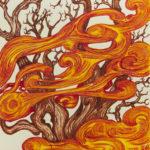 """""""Bruciato dal sole"""", inchiostri, cm 25x35, 2017"""