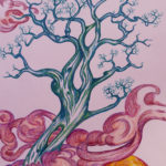 """""""L'albero azzurro"""", inchiostri, cm 35x50, 2017"""