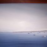 """Baia senza vento"", tecnica mista, acrilico su tavola, cm 58x60, 2012 600 €"