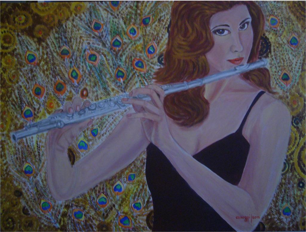 3. La Flautista, acrilico su tela Gallery 80x60h cm, 2017