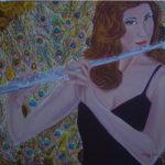 """""""La Flautista"""", acrilico su tela gallery, cm 80x60, 2017"""