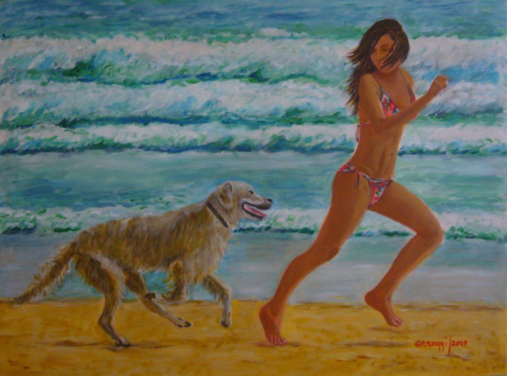 5. ogging in riva al mare, acrilico su tela gallery 80x60h cm, 2015
