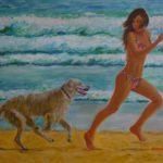 """""""Jogging in riva al mare"""", acrilico su tela gallery, cm 80x60, 2015"""