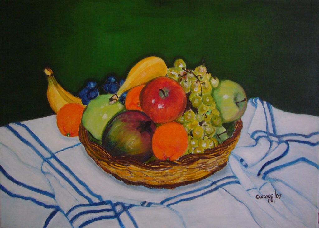 7. Cesto di frutta mista, acrilico su tela 70x50h cm, 2007