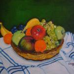 """""""Cesto di frutta mista"""", acrilico su tela, cm 70x50, 2007"""