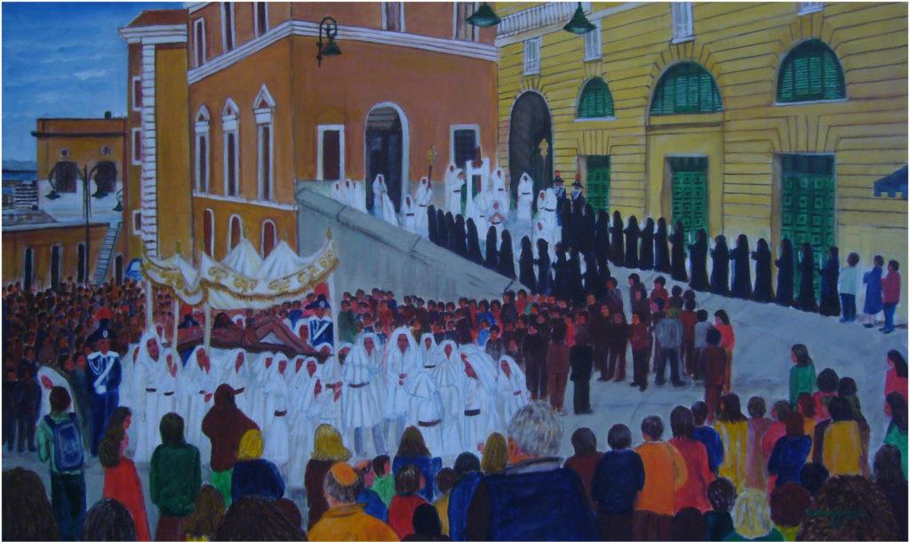 8. Processione del Venerdì Santo, acrilico su tela 100x60h cm, 2017
