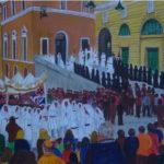 """""""Processione del Venerdì Santo"""", acrilico su tela, cm 100x60, 2017"""