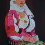 """""""Donna in costume di Nuoro"""", acrilico su tela, cm 50x80, 2006"""