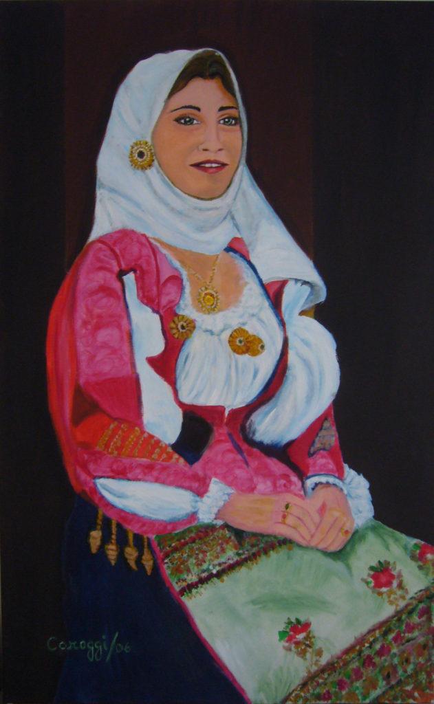 9. Donna in costume di Nuoro, acrilico su tela 50x80h cm, 2006