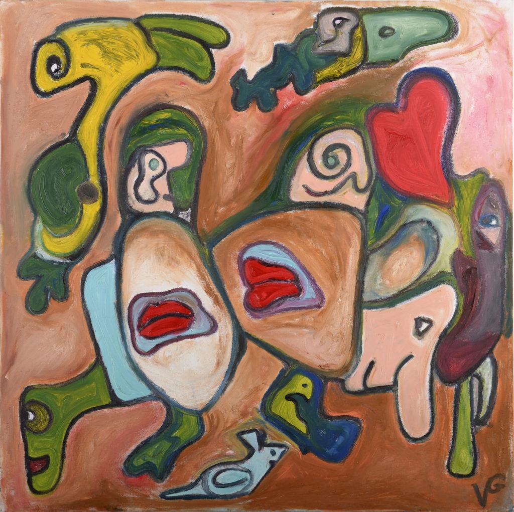 Il bacio di pancia, olio su tela, cm 80x80, 2016 1.200 €