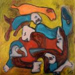 """""""Totem"""", olio su tela, cm 70x70, 2015-2016  1.000 €"""