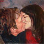 """""""Il bacio"""",olio su pannello telato, cm 40x30, 2013   1.200 €"""