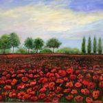 """""""Paesaggio con papaveri"""", olio su tela, cm 50x60, 2016 500 €"""