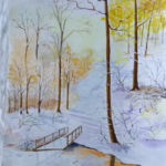 """""""Paesaggio invernale"""", acquerello su carta, cm 48x34, 2016 450 €"""