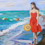 """Passeggiata al mare"", olio su tela, cm 50x70, 2017 650 €"