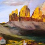 """""""Le tre cime di Lavaredo al tramonto"""", olio su tela, cm 50x60, 2017 600 €"""
