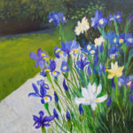 """Iris del mio giardino"", olio e spatola su tela, cm 50x60, 2017 500 €"