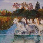 """""""Cavalli in Camargue"""", olio su tela, cm 50x70, 2012 600 €"""