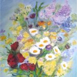 """""""Fiori multicolori"""", olio e spatola su tela, cm 50x60, 2015 500 €"""