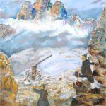 """""""Postazione alpina, Guerra '15-'18 sul Monte Piana"""", olio su tela, cm 60x80, 2015 750 €"""