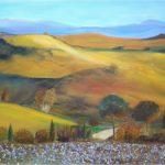 """Crete senesi"", olio e pietrisco su tela, cm 50x70, 2015 600 €"
