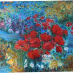 """Fiori spontanei"", olio e spatola su tela, cm 40x50, 2014 500 €"