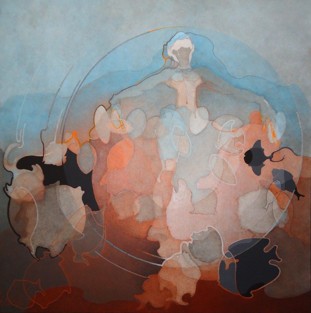 Nereide dal rosso del mare 2017, acrilico su tela, 100x100cm