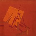 'Construction in red', tempera, ossidi su tela, cm 100x100, 2010