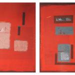 'Exquo tempore 2', tempera, ossidi, calce, pastelli su tela, cm 54,5x114,5 (cad.), 2010