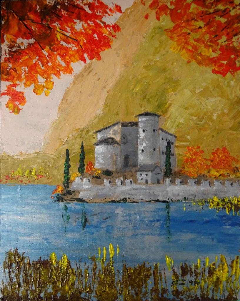 17- 914- Castel Toblino- acryl su faesite 30x24- 05-2016