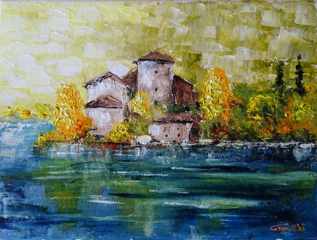 29- 955- Castel Toblino- olio su tela 18x24- 11-2017-