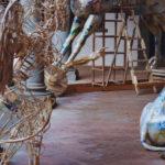 'Installazione con angelo e cavallo di Troia', Plasticone, 'Angelo', cm 180x90x80, 2004   Collezione privata