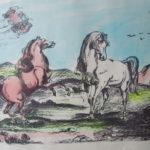 Giorgio de Chirico 'Cavalli' tecnica mista acquerellata su carta