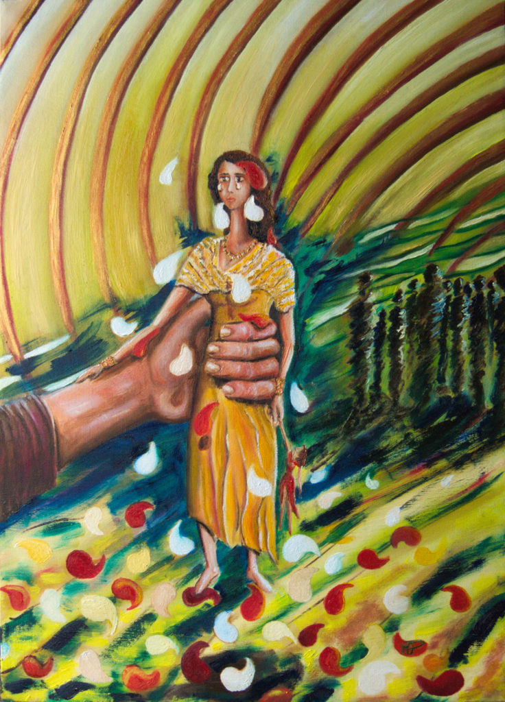 Cosi muore un fiore-olio su tela - 70x50cm - 2016