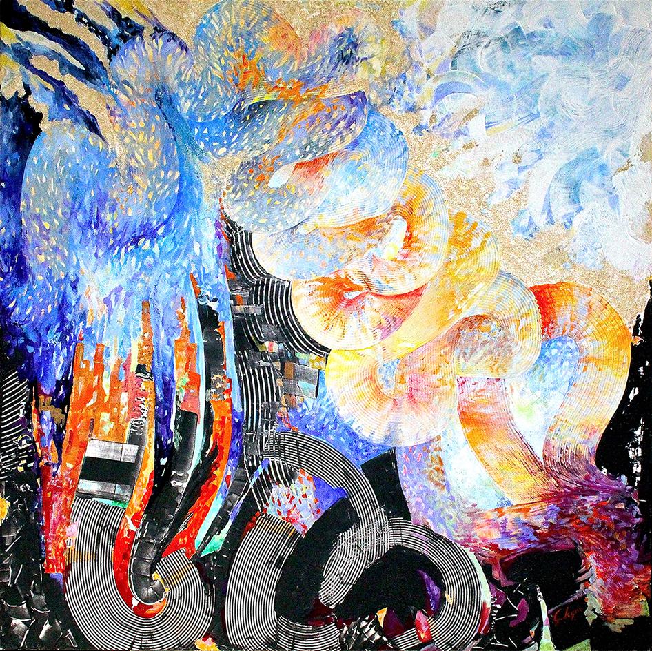 1) Segni e risonanze - 2015 acrilici e malte su tavola 100x100